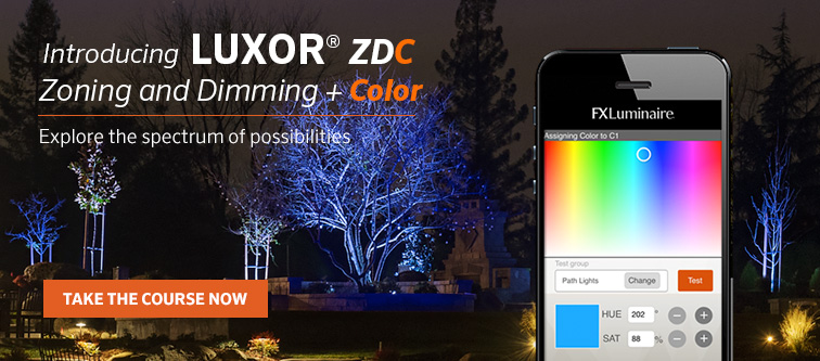 Introducing Luxor ZDC. Zoning and Dimming + Color. Explore the spectrum of possibilties. Take the course now